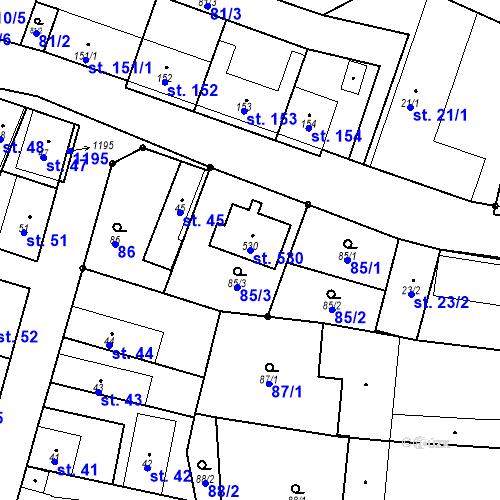 Katastrální mapa Parcela 530 na katastrálním území Křinec