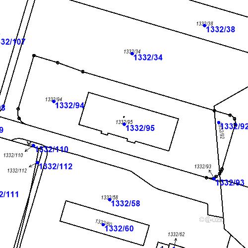 Katastrální mapa Parcela 1332/95 na katastrálním území Růžodol I