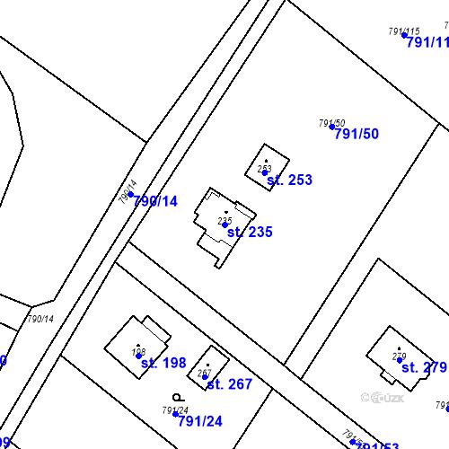 Katastrální mapa Parcela 235 na katastrálním území Petkovy