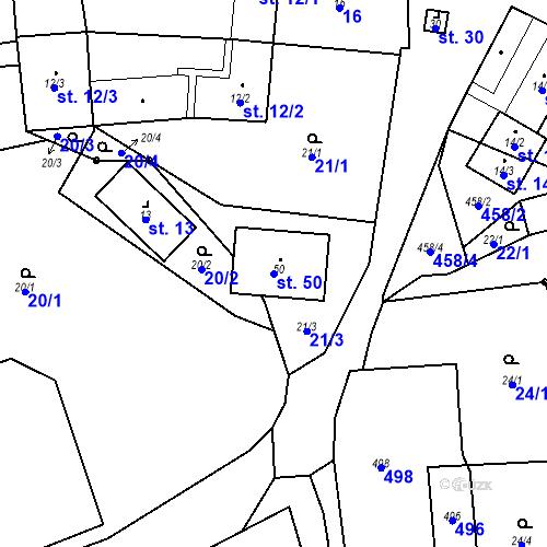 Katastrální mapa Parcela 50 na katastrálním území Radětín