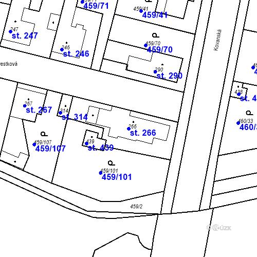 Katastrální mapa Parcela 266 na katastrálním území Bobnice