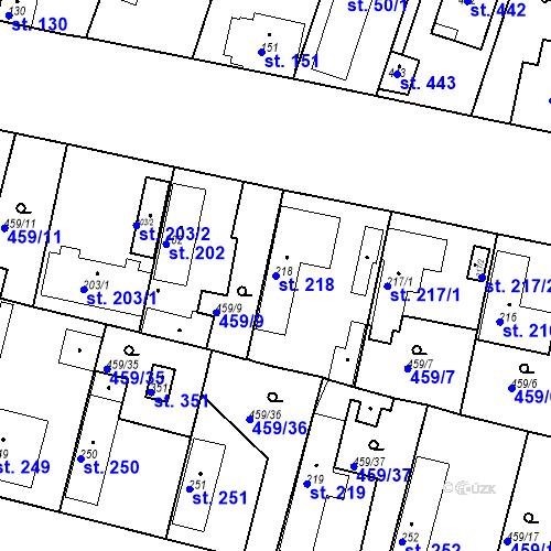 Katastrální mapa Parcela 218 na katastrálním území Bobnice