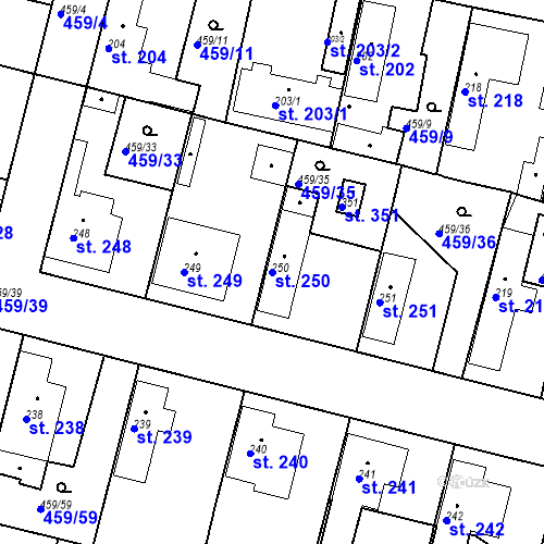 Katastrální mapa Parcela 250 na katastrálním území Bobnice