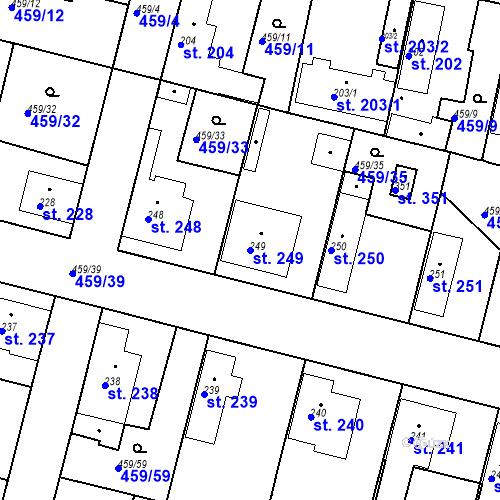 Katastrální mapa Parcela 249 na katastrálním území Bobnice