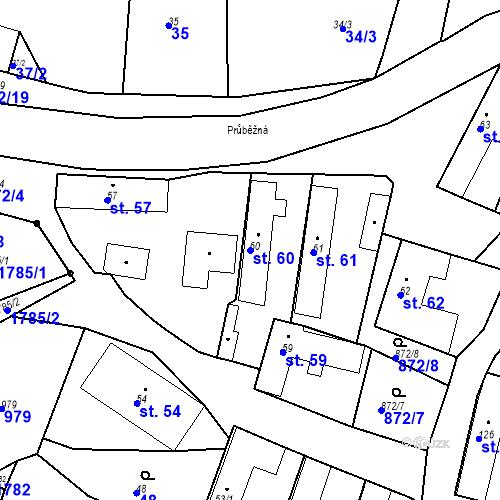 Katastrální mapa Parcela 60 na katastrálním území Bobnice