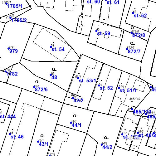 Katastrální mapa Parcela 53/1 na katastrálním území Bobnice