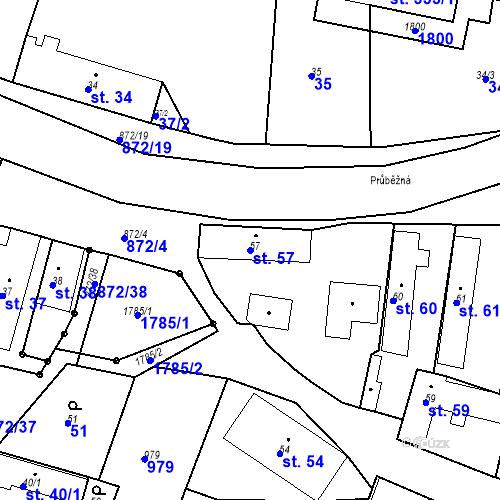 Katastrální mapa Parcela 57 na katastrálním území Bobnice