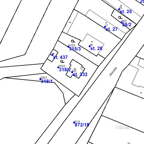 Katastrální mapa Parcela 332 na katastrálním území Bobnice