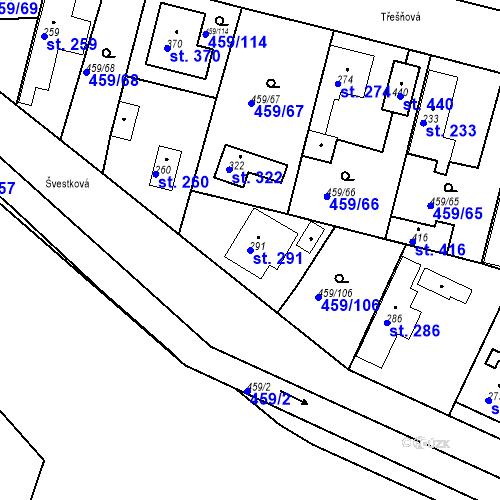 Katastrální mapa Parcela 291 na katastrálním území Bobnice