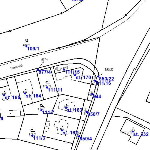 Katastrální mapa Parcela 170 na katastrálním území Veselá u Mnichova Hradiště