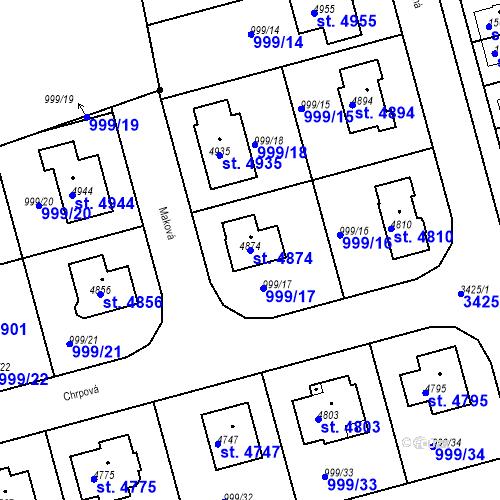 Katastrální mapa Parcela 4874 na katastrálním území Nymburk