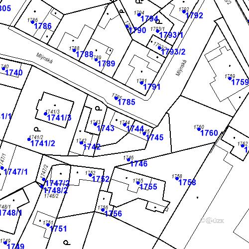 Katastrální mapa Parcela 1744 na katastrálním území Pečky