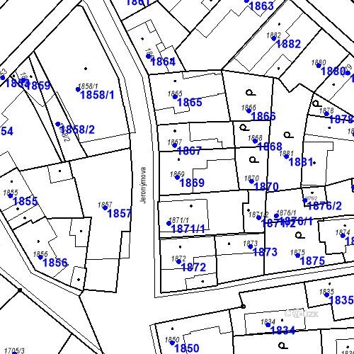 Katastrální mapa Parcela 1869 na katastrálním území Pečky