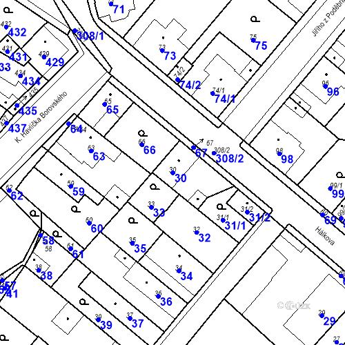 Katastrální mapa Parcela 30 na katastrálním území Pečky