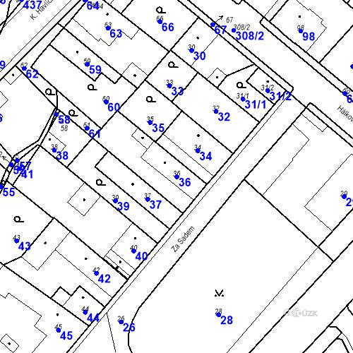 Katastrální mapa Parcela 36 na katastrálním území Pečky
