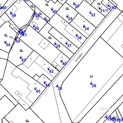 Katastrální mapa Parcela 40 na katastrálním území Pečky
