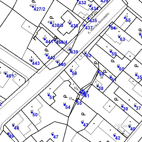 Katastrální mapa Parcela 56 na katastrálním území Pečky