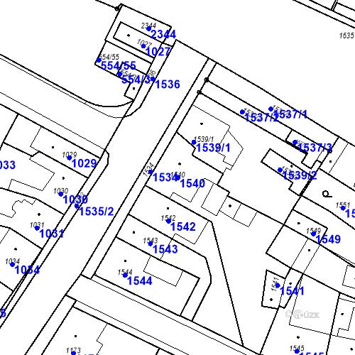 Katastrální mapa Parcela 1540 na katastrálním území Pečky