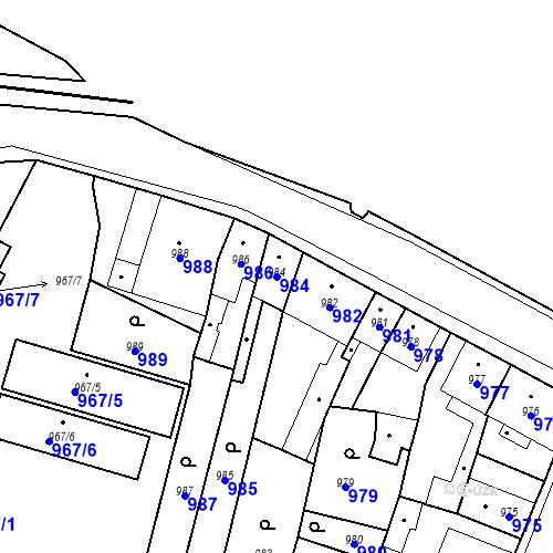 Katastrální mapa Parcela 984 na katastrálním území Pečky