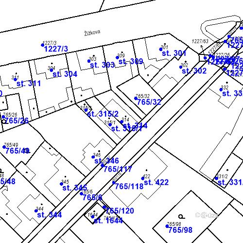 Katastrální mapa Parcela 314 na katastrálním území Bakov nad Jizerou