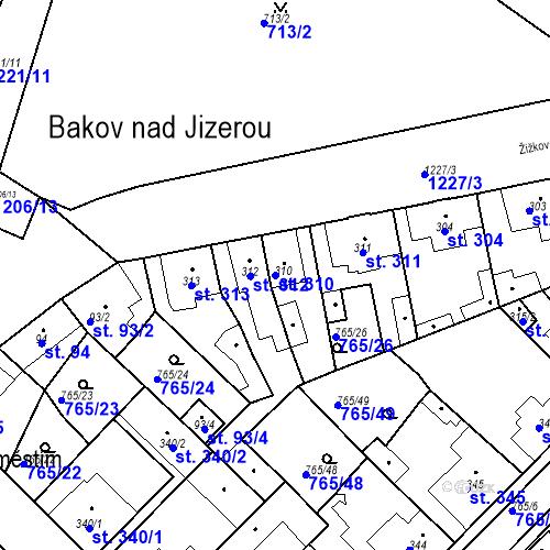 Katastrální mapa Parcela 310 na katastrálním území Bakov nad Jizerou