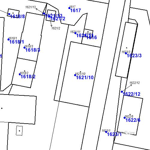 Katastrální mapa Parcela 1621/10 na katastrálním území Dobrovice