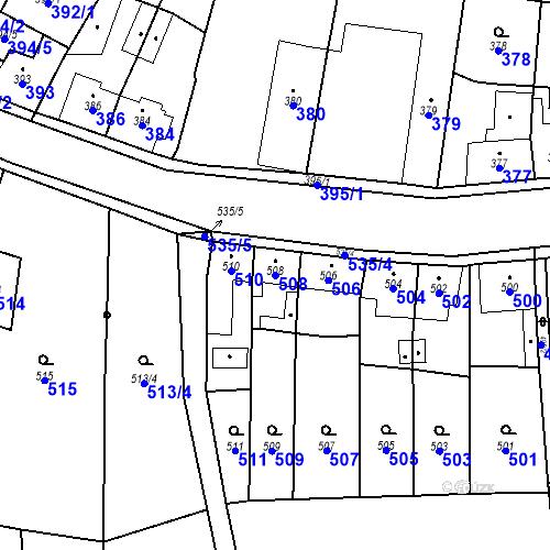Katastrální mapa Parcela 508 na katastrálním území Kosmonosy
