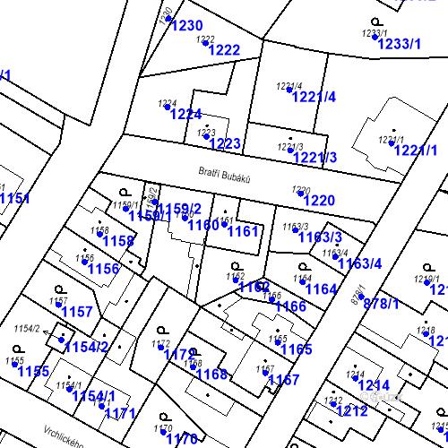 Katastrální mapa Parcela 1161 na katastrálním území Kosmonosy