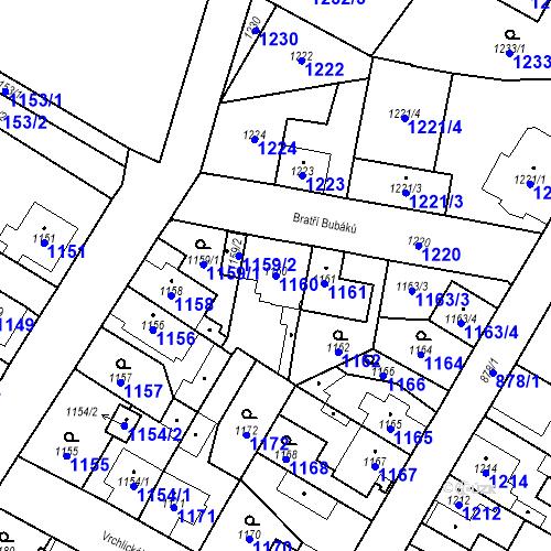 Katastrální mapa Parcela 1160 na katastrálním území Kosmonosy