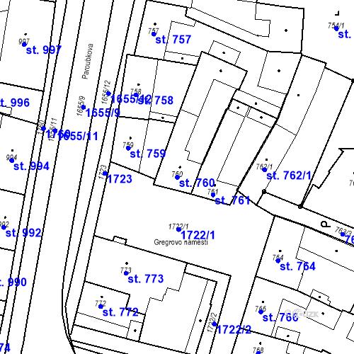 Katastrální mapa Parcela 760 na katastrálním území Sadská