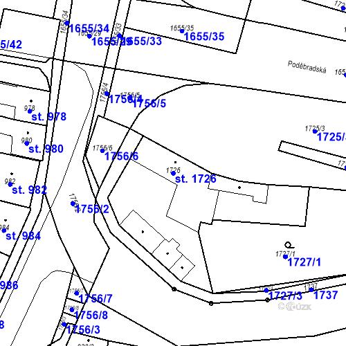 Katastrální mapa Parcela 1726 na katastrálním území Sadská