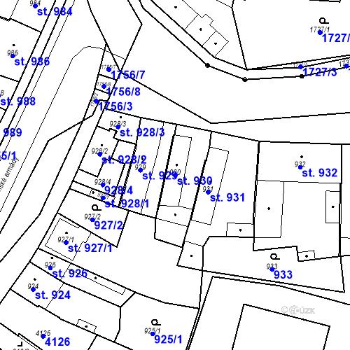Katastrální mapa Parcela 930 na katastrálním území Sadská