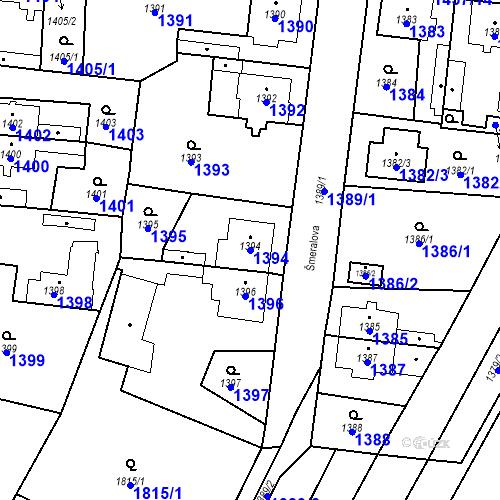 Katastrální mapa Parcela 1394 na katastrálním území Kosmonosy