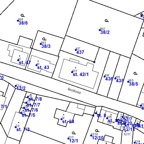 Katastrální mapa Parcela 42/1 na katastrálním území Bradlec