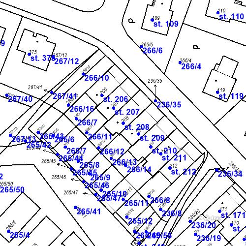 Katastrální mapa Parcela 208 na katastrálním území Bradlec