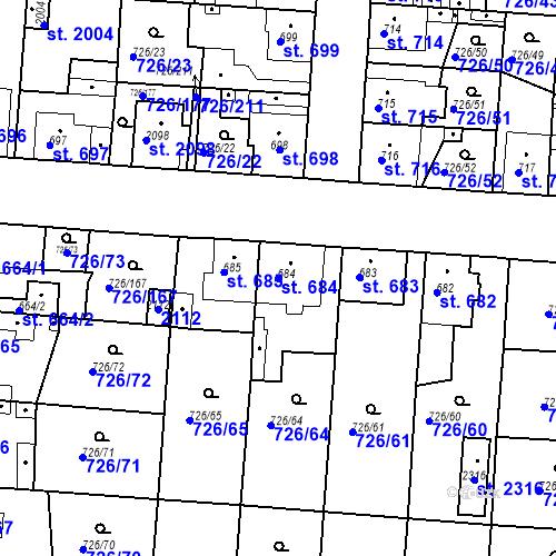 Katastrální mapa Parcela 684 na katastrálním území Český Brod