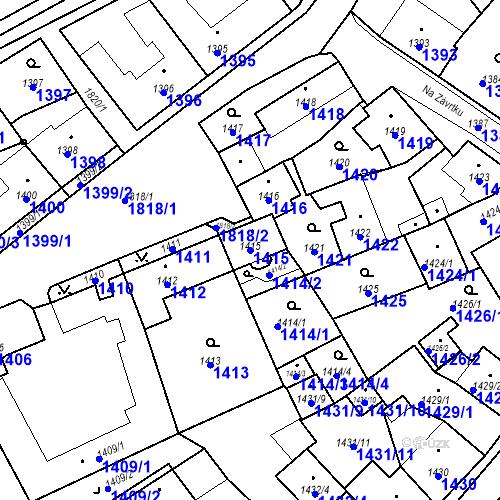 Katastrální mapa Parcela 1415 na katastrálním území Sázava