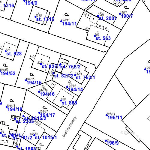Katastrální mapa Parcela 752/1 na katastrálním území Český Brod