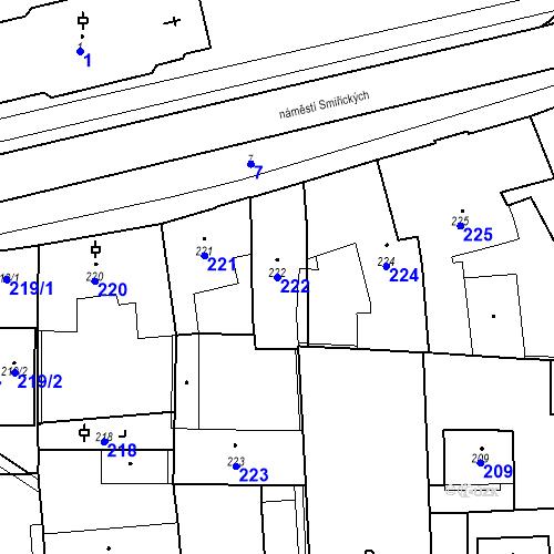 Katastrální mapa Parcela 222 na katastrálním území Kostelec nad Černými lesy