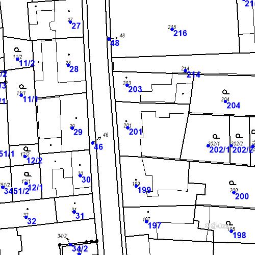 Katastrální mapa Parcela 201 na katastrálním území Kostelec nad Černými lesy