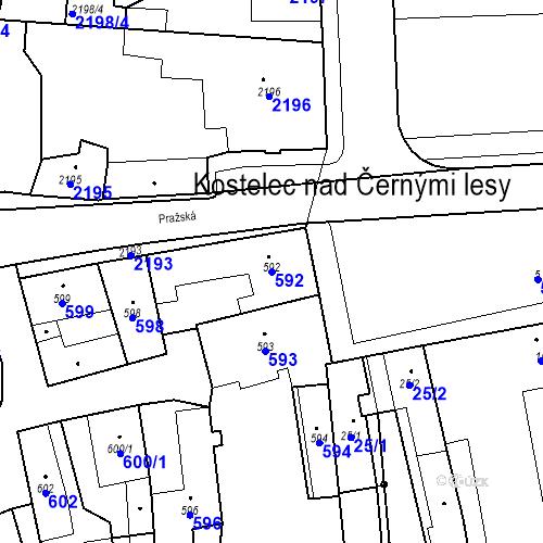 Katastrální mapa Parcela 592 na katastrálním území Kostelec nad Černými lesy