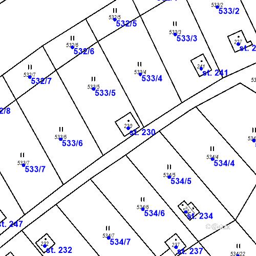 Katastrální mapa Parcela 230 na katastrálním území Samechov
