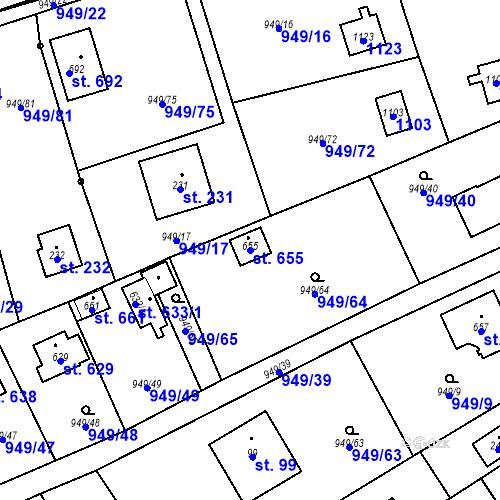 Katastrální mapa Parcela 655 na katastrálním území Vlkančice