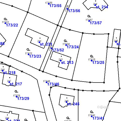 Katastrální mapa Parcela 213 na katastrálním území Ostředek