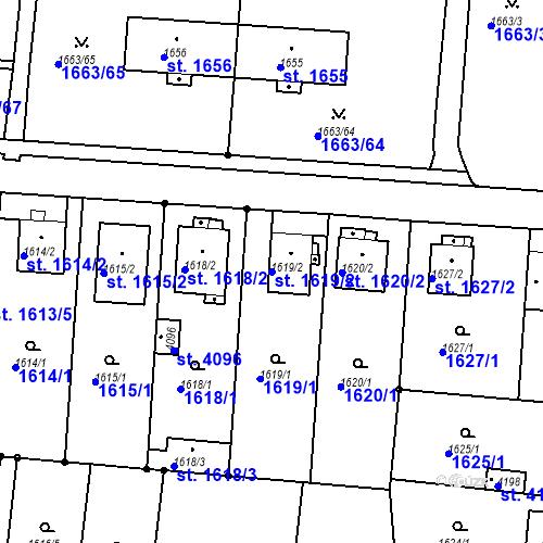 Katastrální mapa Parcela 1619/2 na katastrálním území Čelákovice