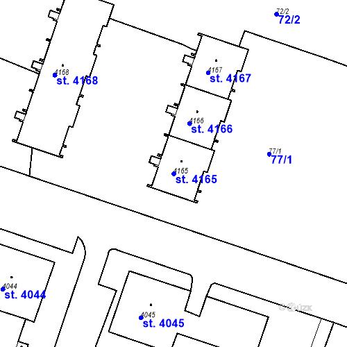 Katastrální mapa Parcela 4165 na katastrálním území Čelákovice