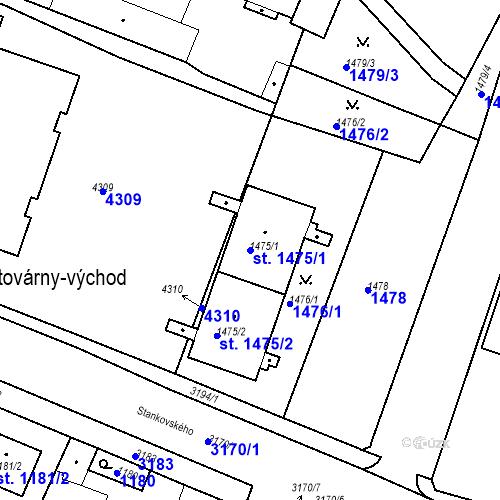 Katastrální mapa Parcela 1475/1 na katastrálním území Čelákovice