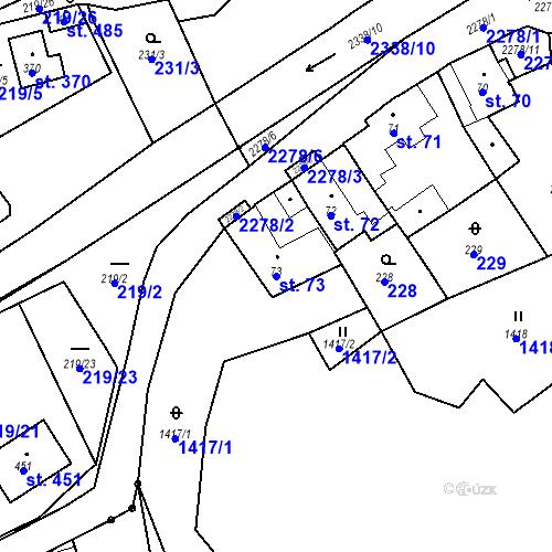 Katastrální mapa Parcela 73 na katastrálním území Deštná u Jindřichova Hradce