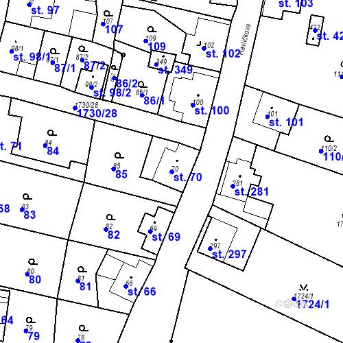 Katastrální mapa Parcela 70 na katastrálním území Jiřetín pod Jedlovou