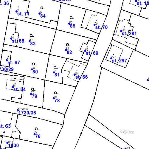 Katastrální mapa Parcela 66 na katastrálním území Jiřetín pod Jedlovou